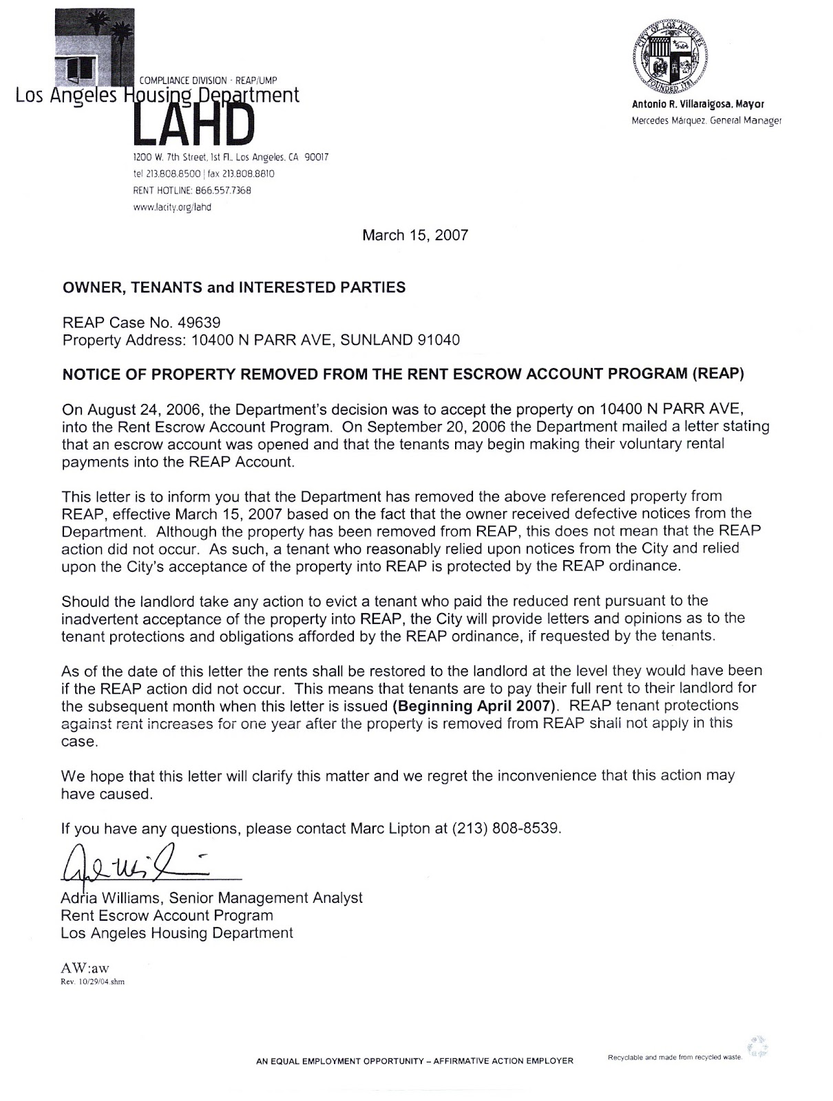 REPORT TO FBI: L A  City Attorney Letter To Property Owner